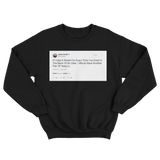 Jaden Smith crying in the back of an Uber tweet on a black crewneck sweater from Tee Tweets