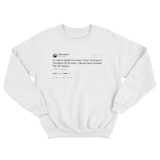 Jaden Smith crying in the back of an Uber tweet on a white crewneck sweater from Tee Tweets