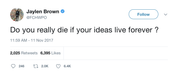 Jaylen Brown do you really die if ideas live forever tweet from Tee Tweets