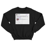 Joel Embiid chance to be with my crush tweet on a black crewneck sweater from Tee Tweets