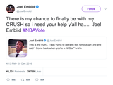 Joel Embiid chance to be with my crush tweet from Tee Tweets