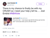 Joel-Embiid-there-is-my-chance-to-finally-be-with-my-crush-so-i-need-your-help-yall-ha-joel-embiid-nbavote-tweet-tee-tweets