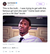 Joel Embiid crush said come back when you're an all star tweet from Tee Tweets
