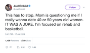 Joel Embiid mom asking if he wants to date cougars tweet from Tee Tweets
