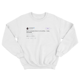 Joel Embiid don't compare me to Ayton tweet on a white crewneck sweater from Tee Tweets