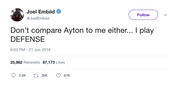 Joel Embiid don't compare me to Ayton tweet from Tee Tweets