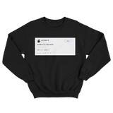Joel Embiid Kawhi is the man tweet on a black crewneck sweater from Tee Tweets