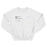 Joel Embiid Kawhi is the man tweet on a white crewneck sweater from Tee Tweets