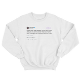 Joel Embiid read receipts with girls tweet on a white crewneck sweater from Tee Tweets