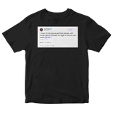 Joel Embiid recruiting Lebron James tweet on a black t-shirt from Tee Tweets
