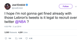 Joel Embiid recruiting Lebron James tweet from Tee Tweets