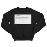 John Mayer congratulations about your face tweet on a black crewneck sweater from Tee Tweets