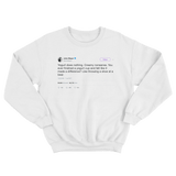 John Mayer yogurt does nothing tweet on a white crewneck sweater from Tee Tweets