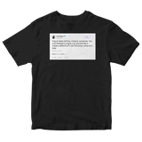 John Mayer yogurt does nothing tweet on a black t-shirt from Tee Tweets