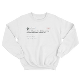 Jose Canseco global warming could have saved Titanic tweet on a white sweatshirt from Tee Tweets