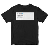 Justin Bieber frog lawn mower tweet on a black t-shirt from Tee Tweets