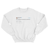 Kanye West don't trade authenticity for approval tweet on a white crewneck sweater from Tee Tweets