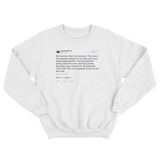 Kanye West be in the moment tweet on a black crewneck sweatshirt from Tee Tweets