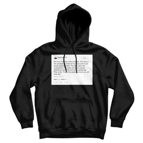 Kanye West be in the moment tweet on a black hoodie from Tee Tweets