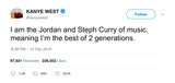 Kanye West best of two generations tweet from Tee Tweets