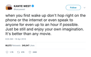 Kanye West enjoy your own imagination tweet from Tee Tweets
