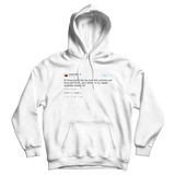 Kanye West yes I believe in my homeless sweaters tweet on a white hoodie from Tee Tweets