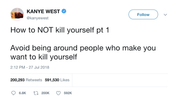 Kanye West how to not kill yourself tweet from Tee Tweets