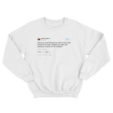 Kanye West in love just by staring at a mirror tweet ona white crewneck sweater from Tee Tweets