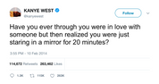 Kanye West in love just by staring at a mirror tweet from Tee Tweets