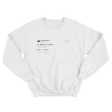 Kanye West my album is 7 songs tweet on a white crewneck sweater from Tee Tweets