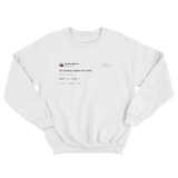 Kanye West not smiling makes me smile tweet on a white crewneck sweater from Tee Tweets