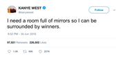 Kanye West room full of mirrors surrounded by winners tweet from Tee Tweets