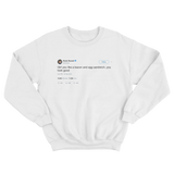 Kevin Durant girl you look like bacon and egg sandwich tweet white sweatshirt from Tee Tweets