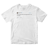 Kevin Durant girl you look like bacon and egg sandwich tweet on a white t-shirt from Tee Tweets