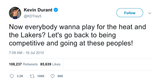 Kevin Durant let's go back to being competitive tweet