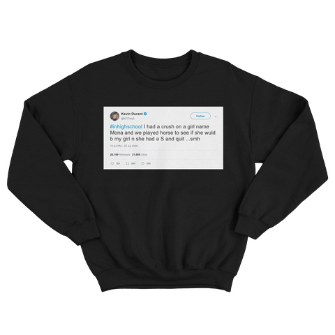 Kevin Durant played HORSE for girl in high school tweet on a black crewneck sweater from Tee Tweets