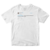 Kevin Durant want to play for OKC for my whole career tweet on a white t-shirt from Tee Tweets
