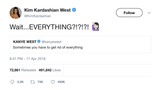 Kim Kardashian retweets Kanye West tweet about getting rid of everything from Tee Tweets