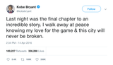 Kobe Bryant the final chapter retirement tweet from Tee Tweets