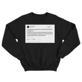 Lady Gaga smashing keyboard random characters tweet on a black crewneck sweater from Tee Tweets