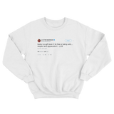 Lil B booty is a gift tweet on a white crewneck sweater from Tee Tweets