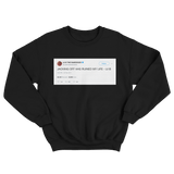 Lil B jacking off ruined my life tweet on a black crewneck sweater from Tee Tweets