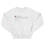 Lil B jacking off ruined my life tweet on a white crewneck sweater from Tee Tweets