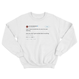 Lil B turned emo tweet on a white crewneck sweater from Tee Tweets