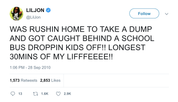 Lil Jon stuck behind a school bus needing to take dump tweet from Tee Tweets