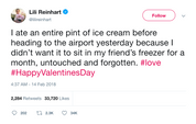 Lili Reinhart ate a pint of ice cream on Valentine's Day tweet from Tee Tweets