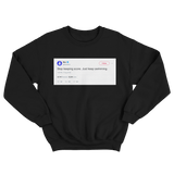 Mac Miller stop keeping score just keep swimming tweet on a black crewneck sweater from Tee Tweets