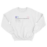 Mac Miller stop keeping score just keep swimming tweet on a white crewneck sweater from Tee Tweets