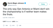 Magic Johnson captain obvious Heat and Spurs tweet from Tee Tweets