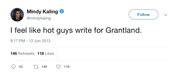 Mindy Kaling feel like hot guys write for Grantland tweet from Tee Tweets
